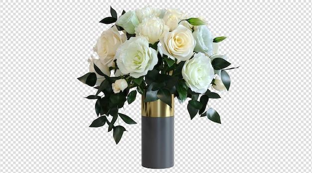 Weiße rose in vase 3d-rendering