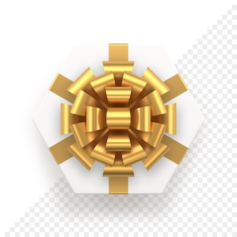 Weiße sechseckige geschenkbox und goldene schleife draufsicht