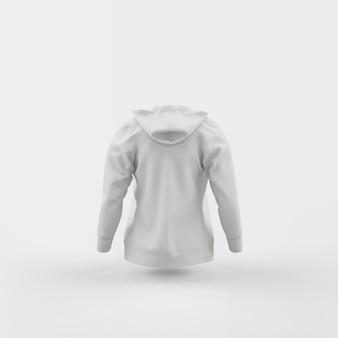 Weiße strickjacke, die auf weiß schwimmt