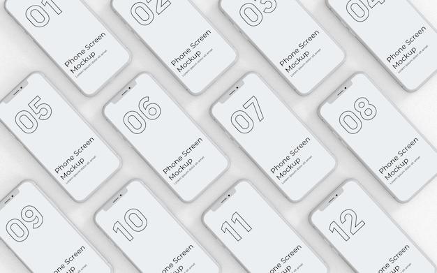 Weiße telefonbildschirme mockup-draufsicht