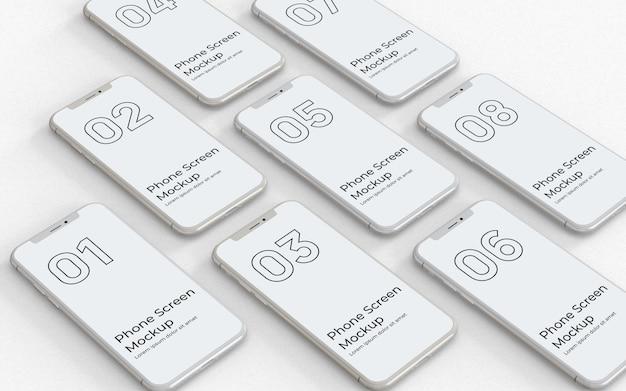 Weiße telefonbildschirme modell rechte ansicht