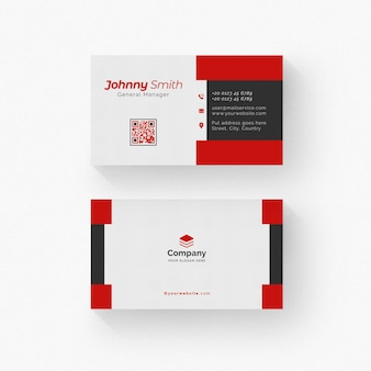 Weiße und schwarze visitenkarte mit roten details