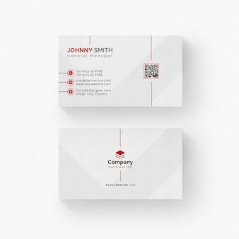 Weiße visitenkarte mit roten details