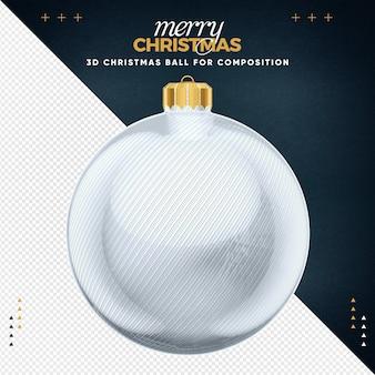Weiße weihnachtskugel für komposition