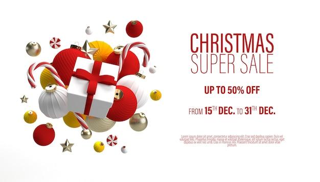 Weiße weihnachtsverkaufsfahnenschablone mit einem geschenk in einem zentrum und weihnachtsspielzeug