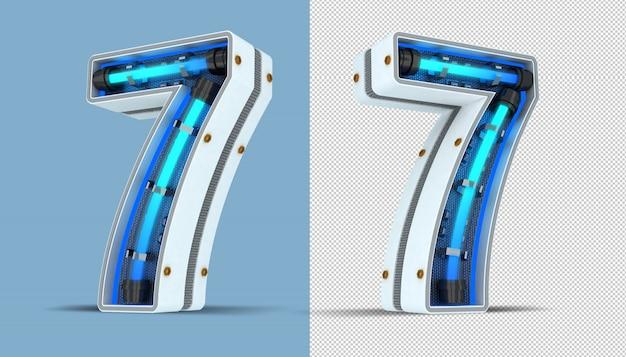 Weiße zahl neonlicht 3d rendering illustration