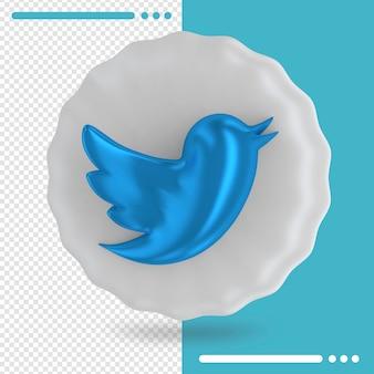 Weißer ballon und logo des twitter 3d-renderings