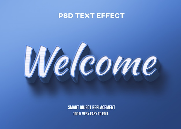 Weißer blauer texteffekt 3d Premium PSD