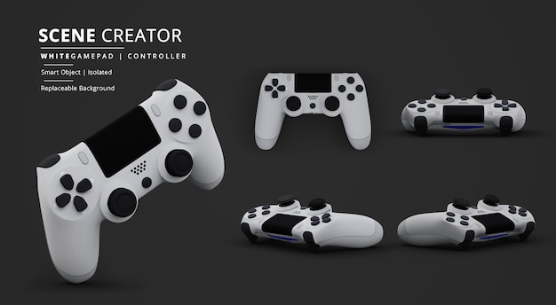 Weißer gamepad-videospiel-controller im dunklen hintergrund-szenenersteller