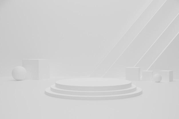 Weißer leerer 3d render podiumshintergrund