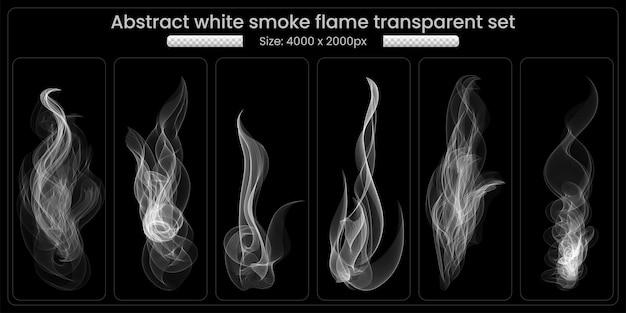 Weißer rauch transparent set auf schwarzem hintergrund