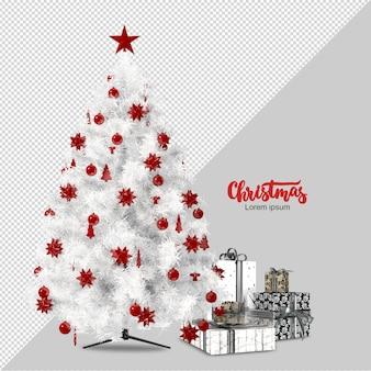 Weißer weihnachtsbaum und geschenke 3d lokalisiert gerendert