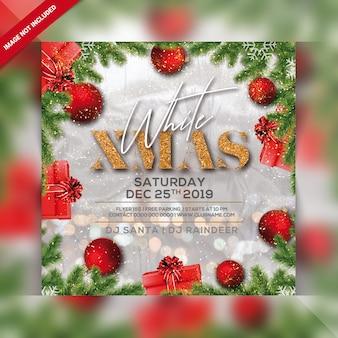 Weißer weihnachtsparty-flyer
