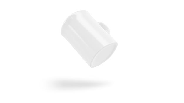 Weißes keramikbechermodell fliegt isoliert