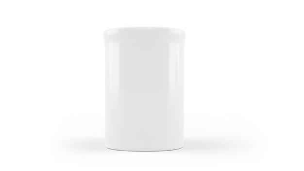 Weißes keramikbechermodell isoliert