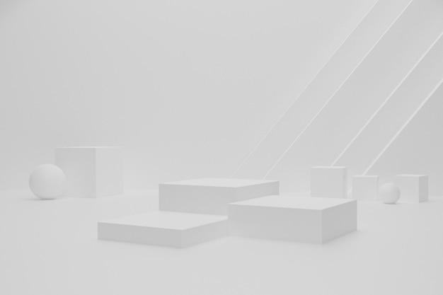 Weißes leeres 3d-renderpodium für die produktpräsentation
