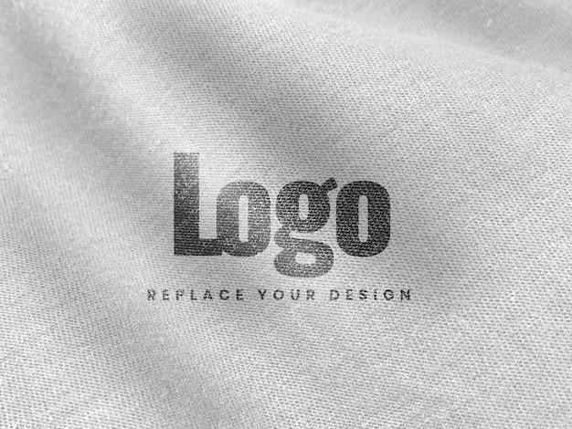 Weißes leinwandmodell-logo realistisch