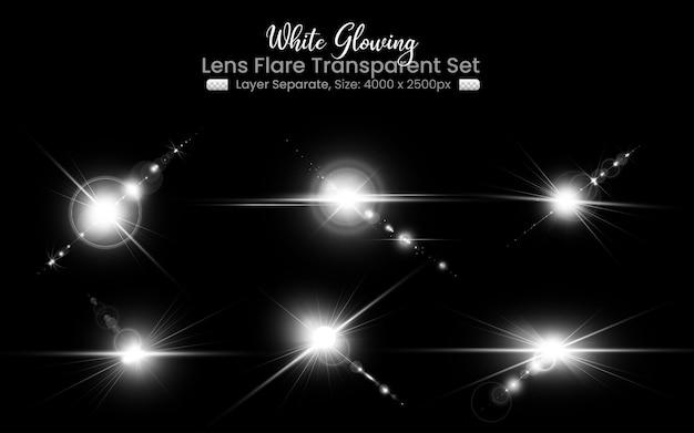 Weißes lens flare mit abstrakter linsenlichtkollektion