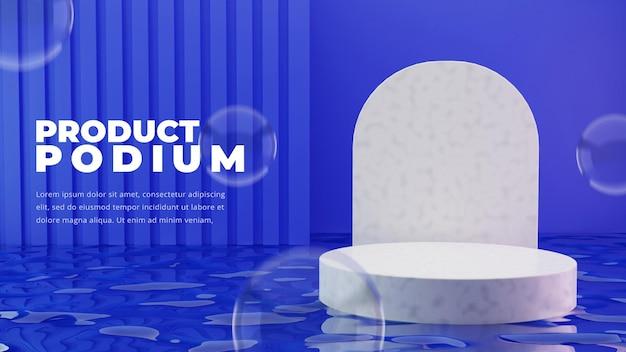 Weißes podium auf wasser auf lila hintergrund isoliert