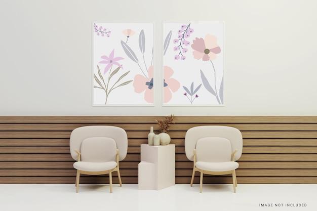 Weißes rahmenmodell auf minimalistischem interieur