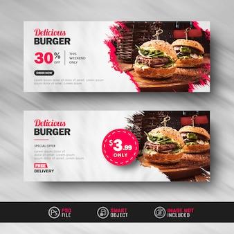 Weißes rotes lebensmittel-getränke-burger-banner mit spritzer