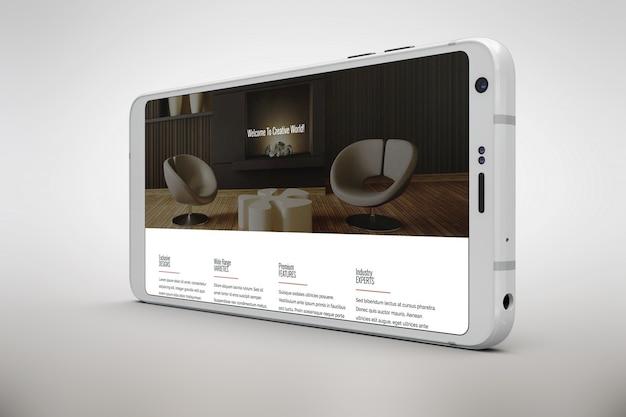 Weißes smartphone mock die horizontale ansicht