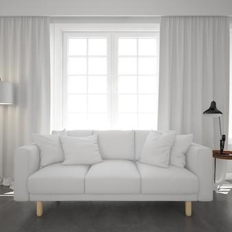 Weißes sofa unter einem fenster