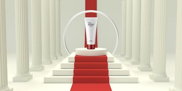 Weißes studio der modernen kosmetischen schablone mit podium 3d übertragen