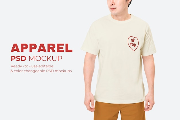 Weißes t-shirt psd-modell für herrenbekleidungswerbung