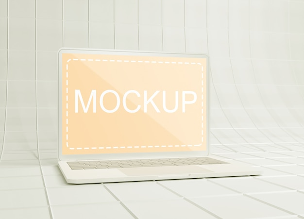 Weißes ton-laptop-modell auf drahtgitterpapieroberfläche
