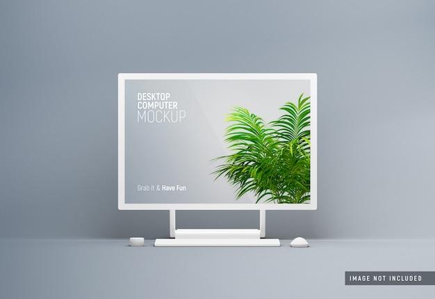 Weißes tonmodell des desktop-computeroberflächenstudios