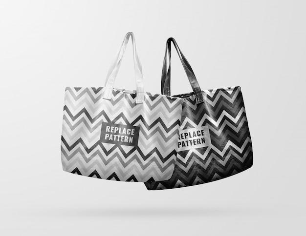 Weißes und schwarzes einkaufstaschenmodell