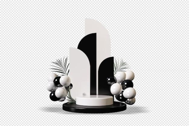 Weißes und schwarzes podium mit ballons im d-rendering isoliert Premium PSD