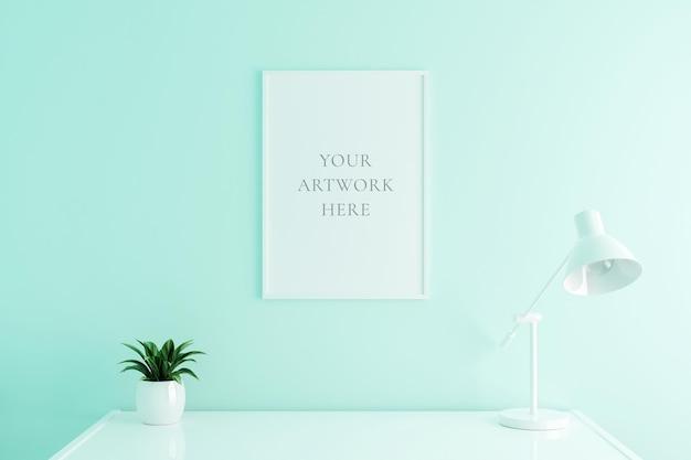 Weißes vertikales plakatrahmenmodell auf arbeitstisch im wohnzimmerinnenraum auf leerem weißem farbwandhintergrund. 3d-rendering.