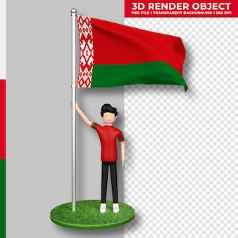 Weißrussland-flagge mit niedlichen menschen-cartoon-figur. tag der unabhängigkeit. 3d-rendering.