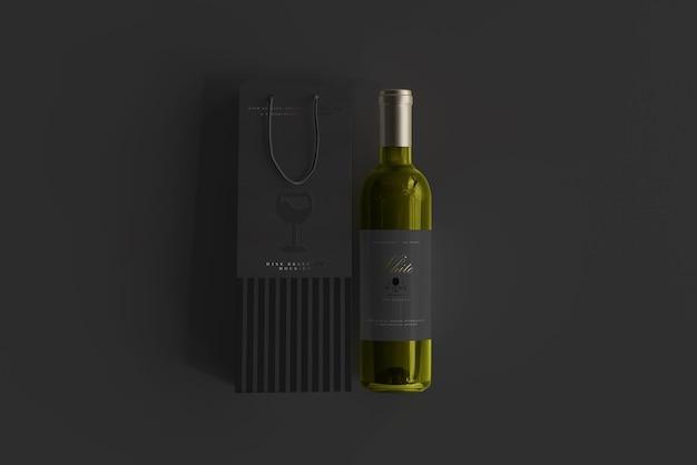 Weißweinflasche mit bag mockup