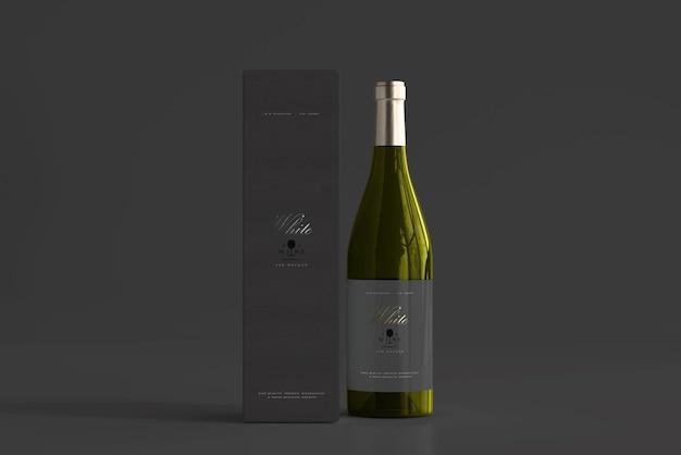 Weißweinflasche mit box mockup