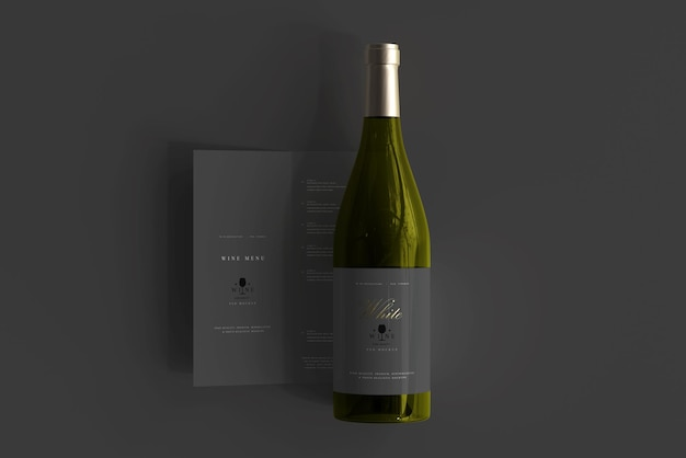 Weißweinflasche mit menümodell