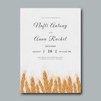 Weizenhochzeitseinladungsschablone mit aquarell