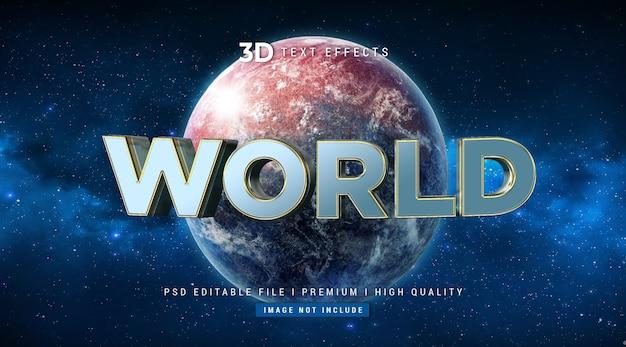 Welt 3d textstil-effektschablone