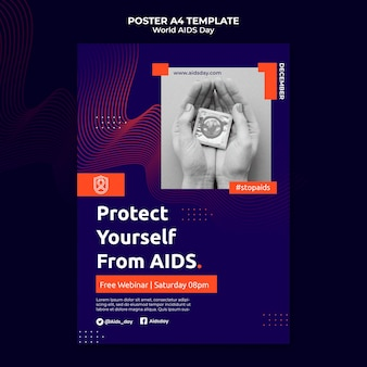 Welt-aids-tag-druckvorlage mit orangefarbenen details