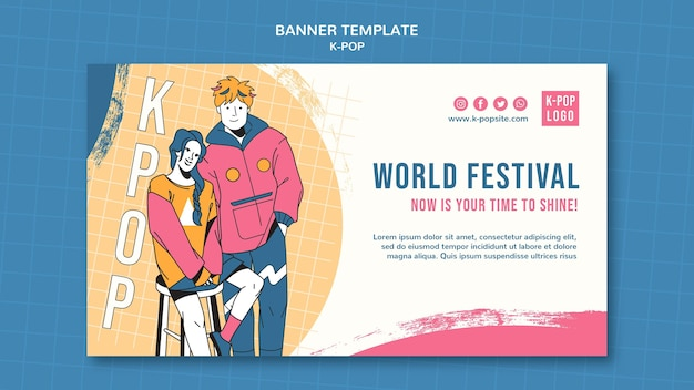Welt festival banner vorlage