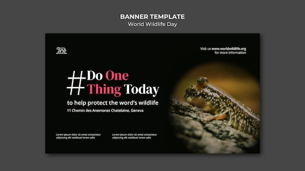 Welt wildlife day banner vorlage