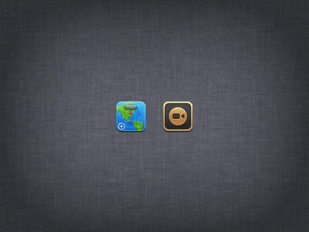 Weltkarte und kamera-icon design