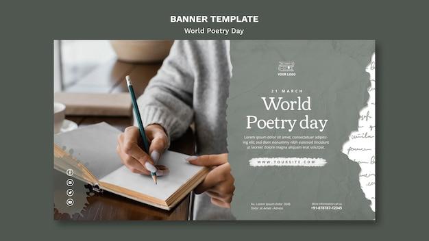 Weltpoesie-tagesereignis-bannerschablone mit foto
