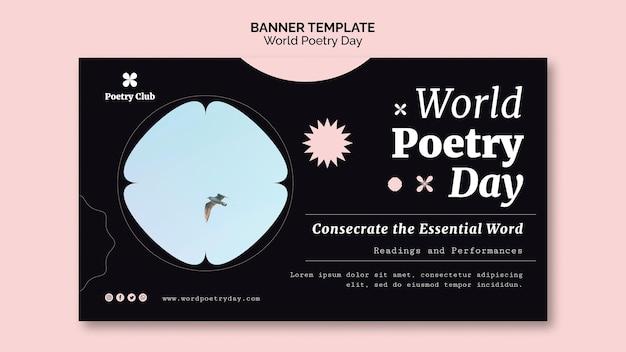 Weltpoesie-tagesereignis-bannerschablone
