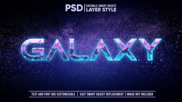 Weltraumgalaxie cosmic glowing asteroid rock 3d bearbeitbarer ebenenstil texteffekt