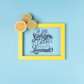 Wenn das leben ihnen zitronen gibt, dann machen sie limonade. inspirierend und motivierend beschriftungszitat