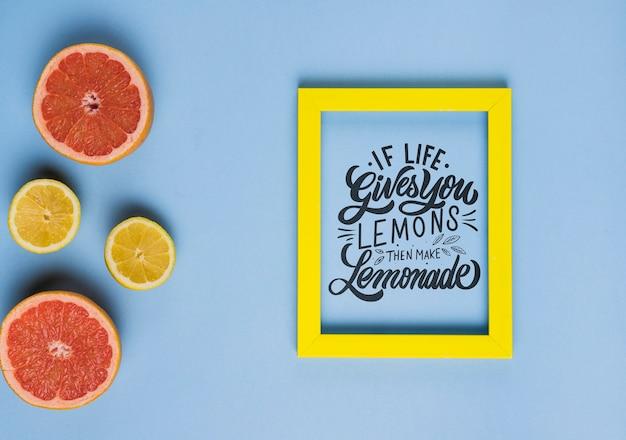 Wenn das leben ihnen zitronen gibt, dann machen sie limonade, motivbeschriftungszitat