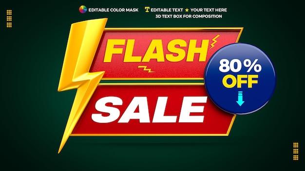 Werbebanner des 3d-flash-verkaufs mit textfeld und kreis